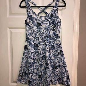 H&M blue and white floral tank dress size small